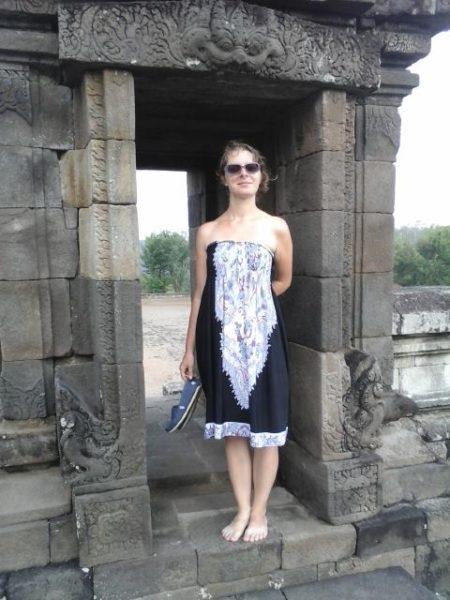 Vchod do chrámu Barong zdobí hlava Ganešu. A ja :)