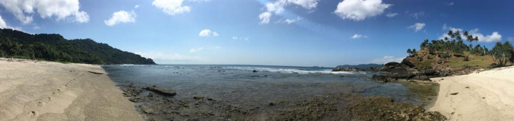 Krásna pláž, panoramatická fotka