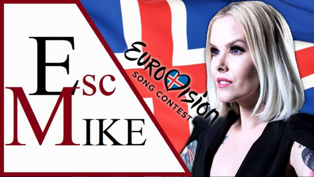 Plagát Eurovízie a na pozadí islandská vlajka a speváčka