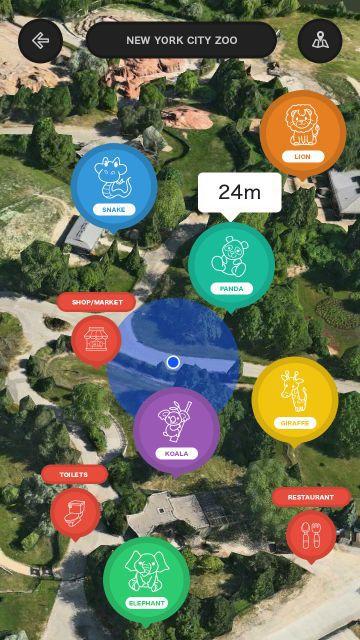 Náhľad mapy Zoologickej záhrady pomocou mobilnej aplikácie Navizoo