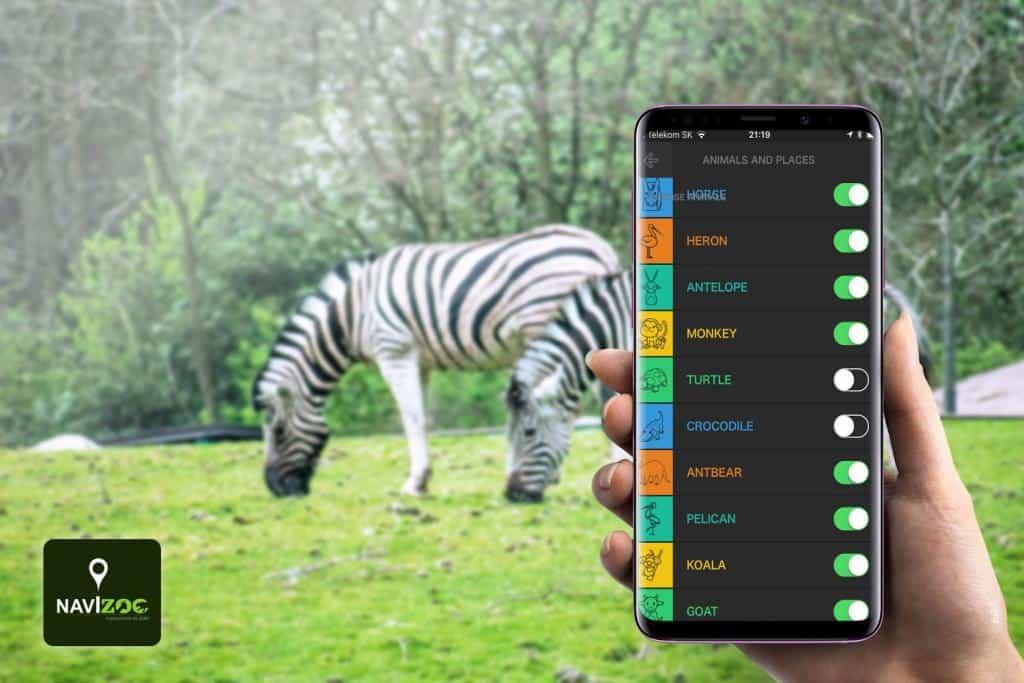 Výber živočíchov v nastaveniach mobilnej aplikácie Navizoo