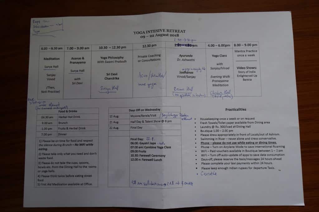 Harmonogram tréningov jogy v indickom ašráme